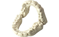 <b>Dental Arch <br>Printed on LC Magna- 100um 46 Dental Arches 1 hr 24 mins</b><br> Resin Properties <br> Tensile strength 63 MPa<br> Elongation at break 4.3%